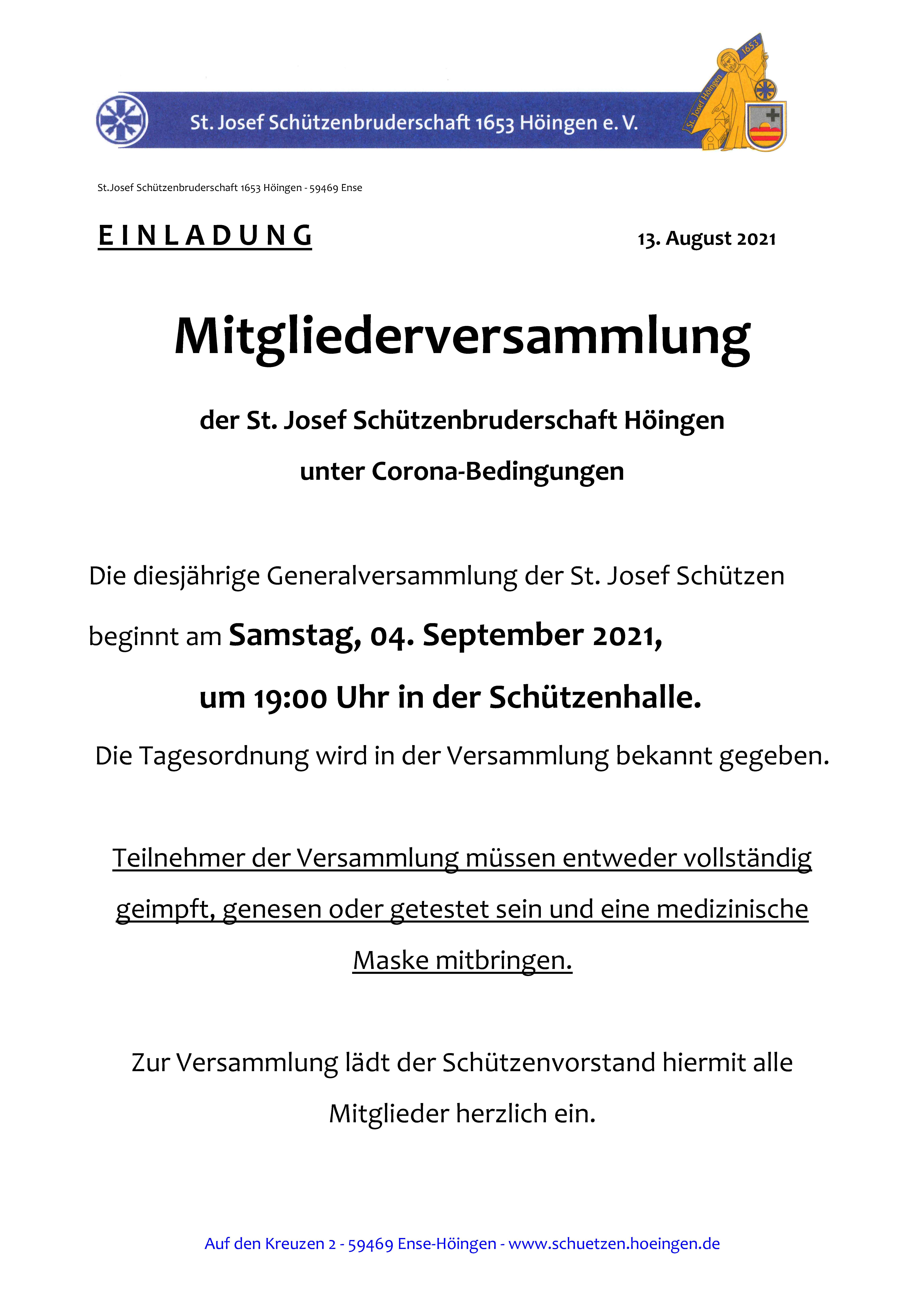 Read more about the article Mitgliederversammlung 2021